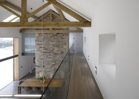barn conversion | clean white walls against glass and brick || Cat Hill Barn by Snook Architects