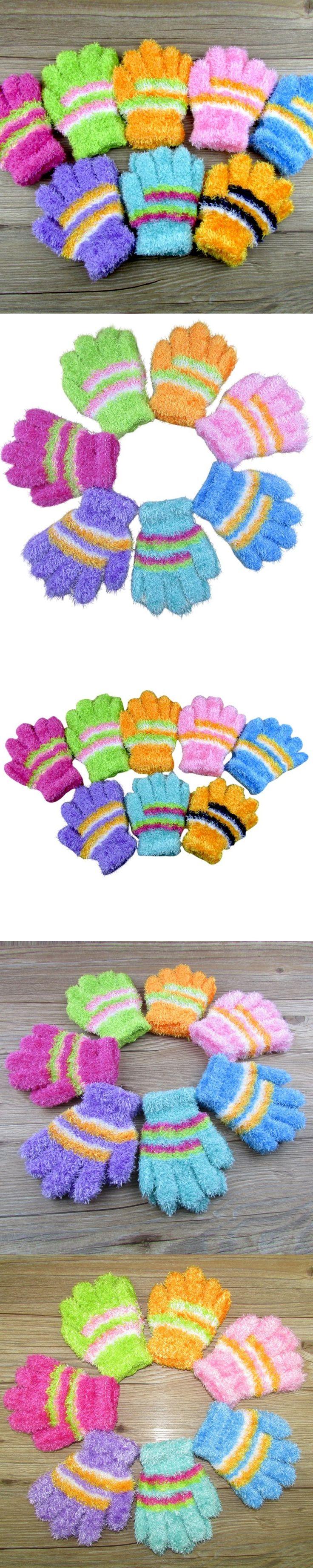 Unisex Kids Warm Winter Gloves Toddler Striped Mittens 2 pc/lot Adult Apparel Accessories