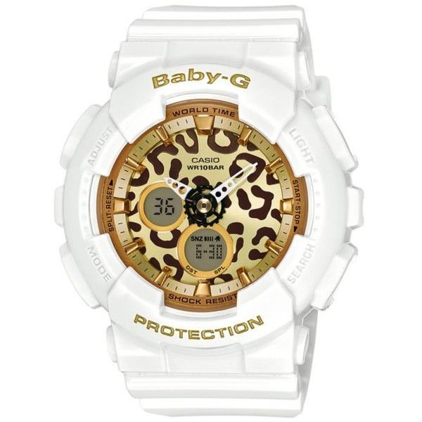 G-Shock White Womens White Leopard Print Ana-Digi Baby-G Watch ($120) ❤ liked on Polyvore featuring jewelry, watches, white, white watches, digital watch, digital wristwatch, analog and digital watch and digital wrist watch