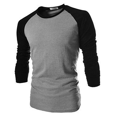 Ανδρικά+Καθημερινό+Βαμβάκι+Απλό+Μακρυμάνικο+T-shirt-Μαύρο+/+Λευκό+/+Γκρι+–+EUR+€+8.81