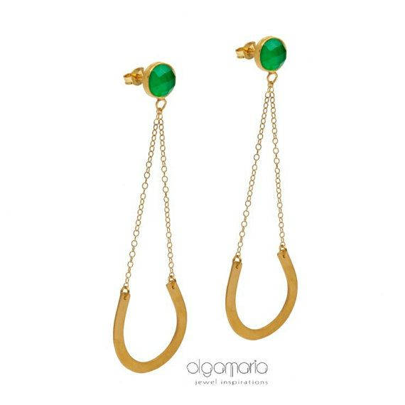 Long Earrings Statement Earrings Gold by JewelInspirations on Etsy