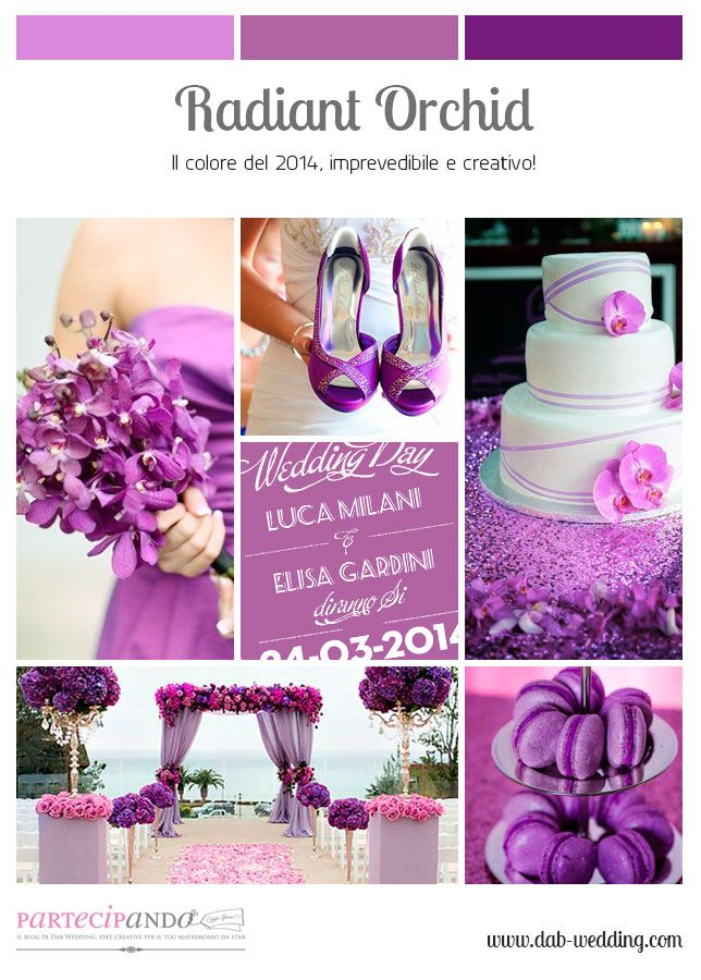 Inspiration mood board for wedding in Radiant Orchid palette. By ®Dab Wedding Events