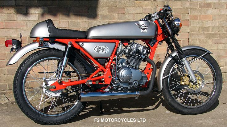 F2 Motorcycles special Skyteam Ace. Retro shocks, absorption silencer, ace bars, higher gearing, heavy duty gold chain and engine tidied. Looks good, sounds great, goes well. Find out more http://www.f2motorcycles.ltd.uk/motorcycles.html