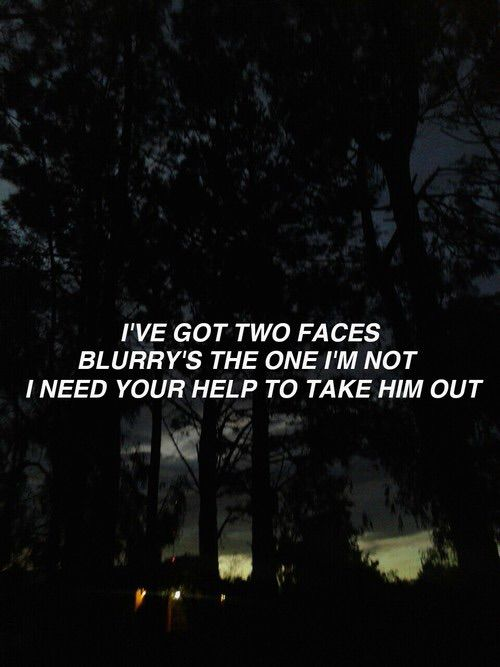 """correct me if im wrong but blurry is tylers """"dark"""" side or the little voice that tells you u cant or u suck at life and we all have r one blurryface that we need to over come"""