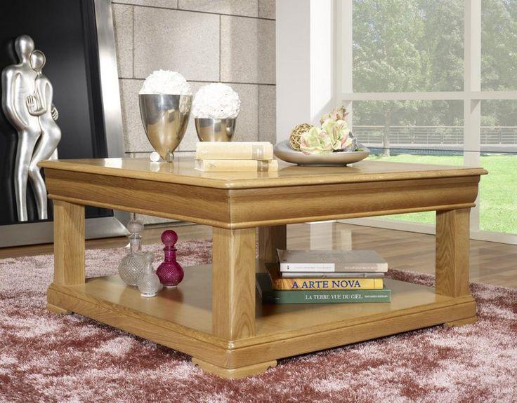 Table basse carrée Anne-Sophie réalisée en Chêne de style Louis Philippe