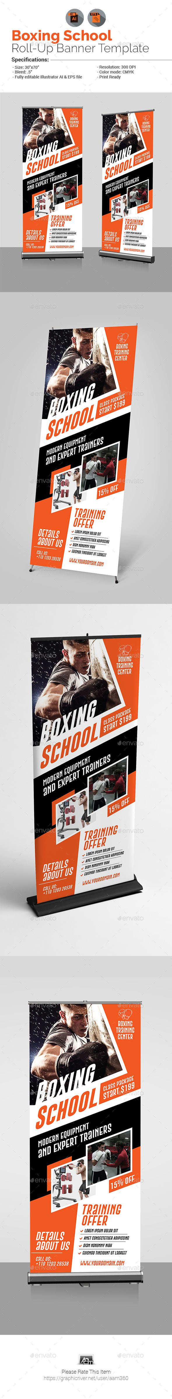Boxing School Roll-Up Banner Template Vector EPS, AI Illustrator