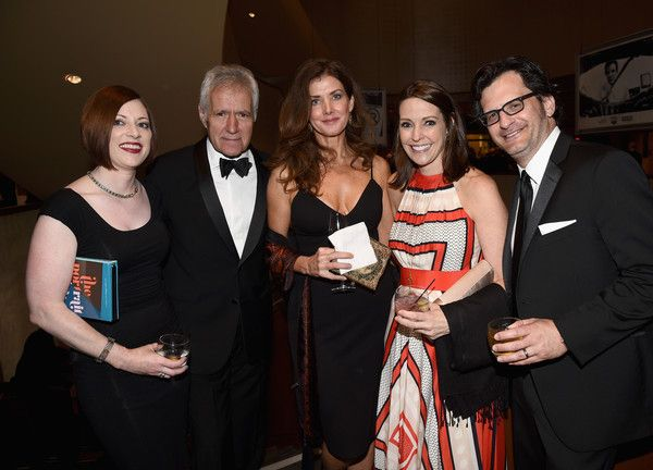 Jean Currivan Trebek Photos - (L-R) Genevieve McGillicuddy, TV personality Alex Trebek, Jean Currivan Trebek, General Manager of TCM Jennifer Dorian, and TV personality Ben Mankiewicz pose back onstage during the 2015 AFI Life Achievement Award Gala Tribute Honoring Steve Martin at the Dolby Theatre on June 4, 2015 in Hollywood, California. 25292_003 - 2015 AFI Life Achievement Award Gala Tribute Honoring Steve Martin - Show