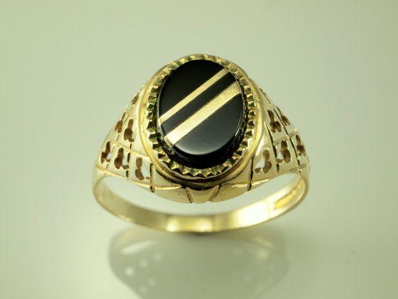 Vintage schwarze Onyx Ringe