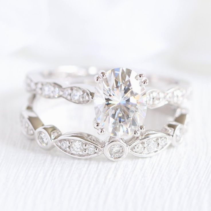 Grace Solitaire Bridal Set In Bezel Scalloped Band W Moissanite And Diamond Wedding Rings Engagement Engagement Ring White Gold Wedding Rings Unique