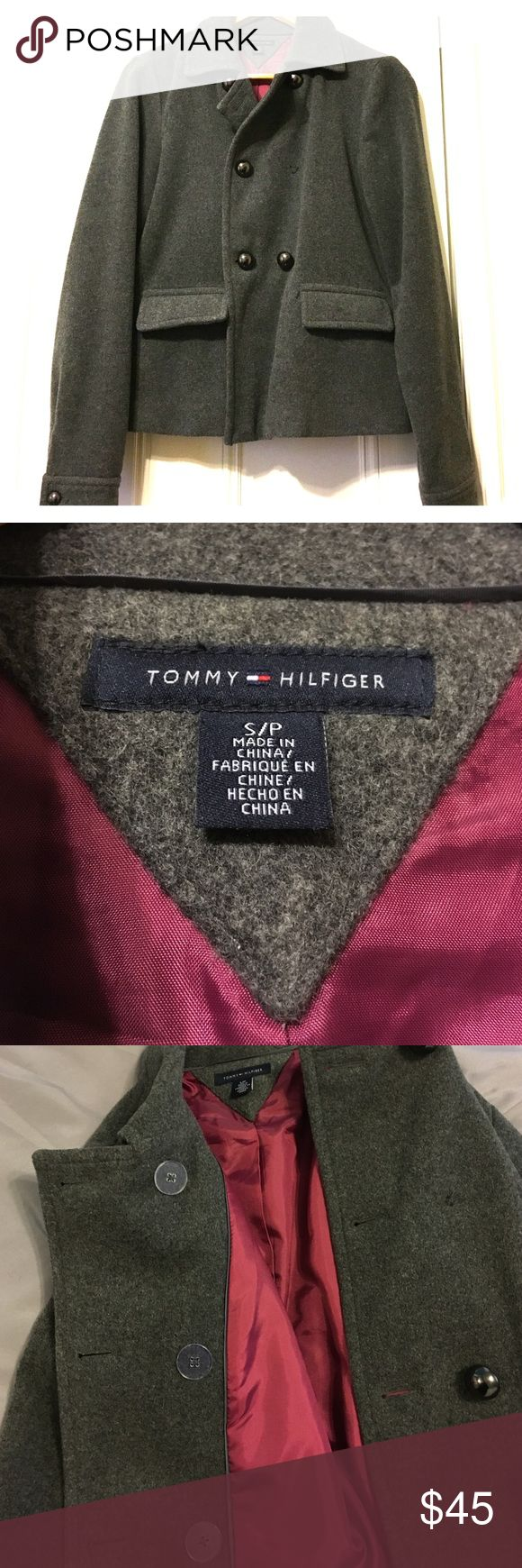 Tommy Hilfiger grey wool winter jacket. Cute grey wool winter jacket by Tommy Hilfiger.  Inner lining wine colored.  Inner buttons for secure closure, outer buttons for cute look.  Missing one button, otherwise great condition.  Worn only a few times. Tommy Hilfiger Jackets & Coats