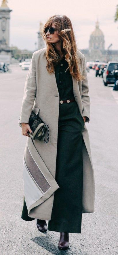Grey duster coat   Street style