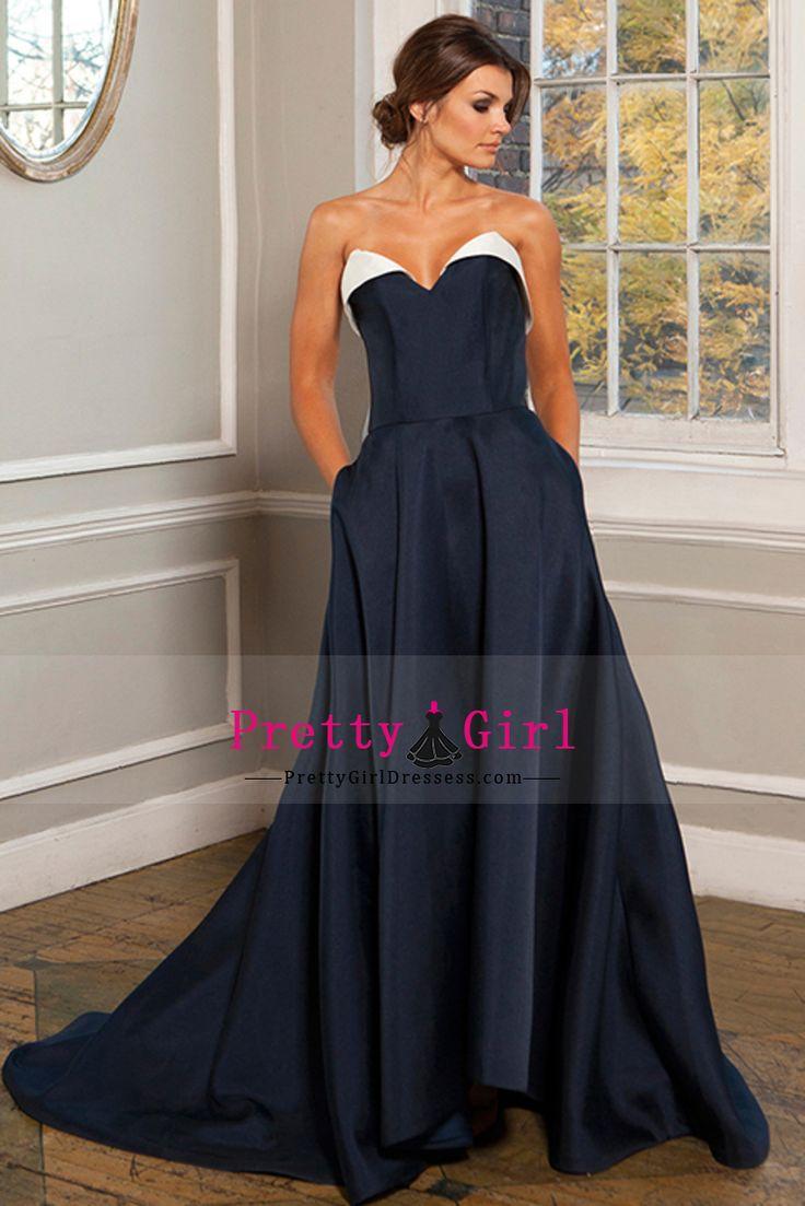 2016 Bicolor Prom Dresses Sweetheart A Line Satin Court Train US$ 139.99 PGDPH1C83HP - PrettyGirlDressess.com for mobile