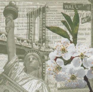 Paper napkin New York Statue of Liberty 33 cm x 33 cm 3-ply for object decoration with wood art of napkin or collection  Serviette papier New York et statue de la Liberté 33 cm x 33 cm 3 plis pour la décoration d'objet en bois avec la technique du serviettage ou pour collection.