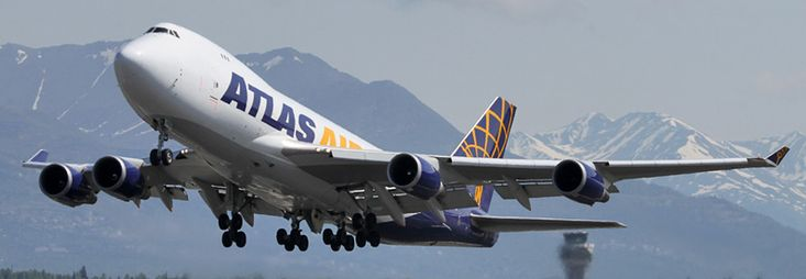 Atlas Air Boeing B747-400 freighter at Anchorage