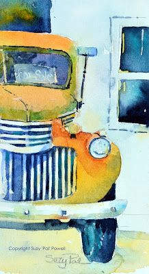 old truck watercolor Would love to have one done from my dad's old blue truck