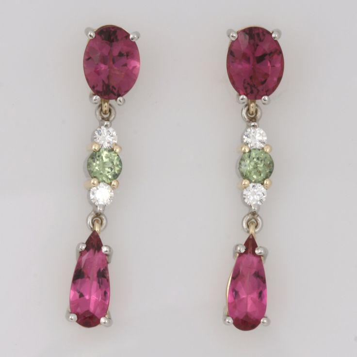 18ct yellow gold drop earrings featuring Pink Tourmaline, Green Garnets and Diamonds