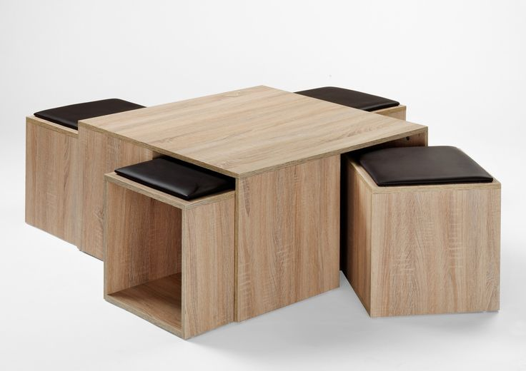 Table basse contemporaine avec poufs ch ne nature celaya for Tables basses contemporaines