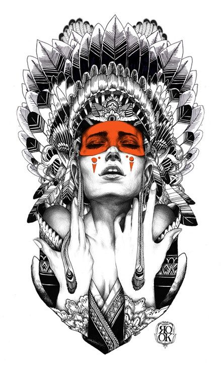 Woman with an Indian headdress - graphic art