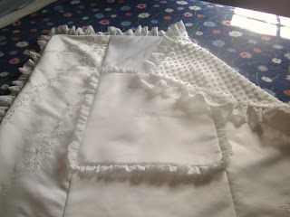 Christening blanket made from wedding dress.