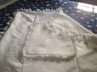 Christening blanket made from wedding dress.