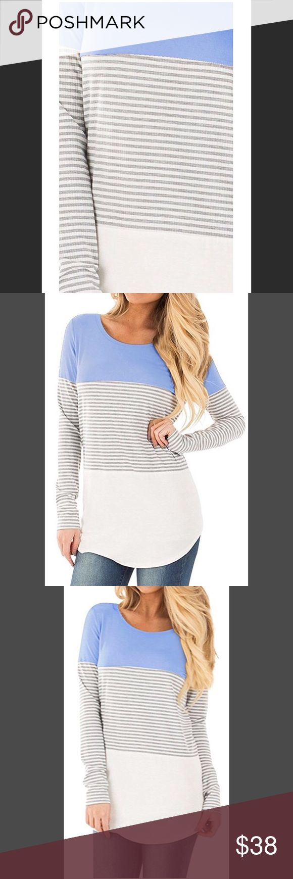 ‼️🆕‼️STYLIN/Color Block w/Lace Inset Tunic Tops Bring back effortlessly chic style with this gorgeous blouse!  Featuring a colorblock style bodice with Light Blue on top, Gray & white stripes in the middle, and a black and white striped bottom, it's simply a stunning look!   The soft and comfortable fabric will keep you feeling amazing all day long, too!  Just add jeans/legging and boots for a beautifully chic fall combination! (And you can even transition this piece into fall - what a…