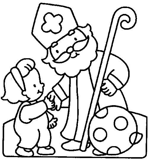 Sinterklaas knutselidee Sinterklaas kleuren (dikke lijnen)
