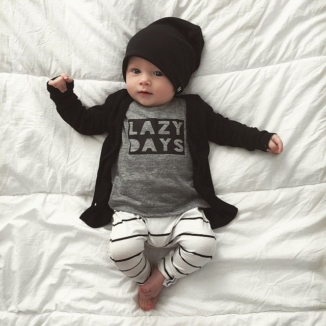 Immunizations yesterday mixed with teething calls for a lazy Saturday at home with our 3 little loves My fav kind of Day! Happy Saturday everyone! :sunny: Knoxies outfit: Lazy Days Tee- /vagabondbabe/ Stripe Harems- @fromzion_ Black Cardi & Beanie (small)- available online now http://www.beauhudson.co