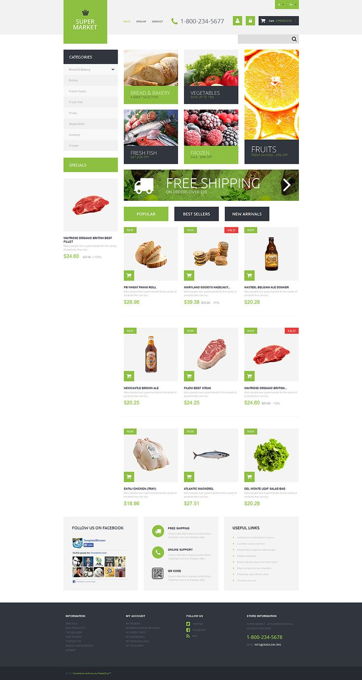 20+ Awesome Boutique Supermarket, Food Store & Food Delivery Ecommerce Templates (Food PrestaShop Themes) - Supermarket Template