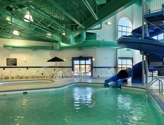Indoor Pool And Hot Tub With A Slide