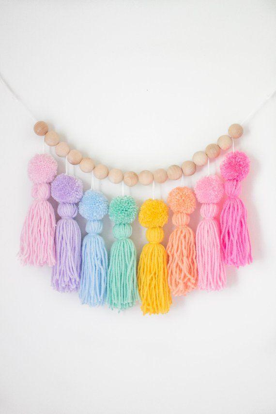 Pastel Rainbow Pom Pom Tassel Garland. Nursery and Kids Room Decor. Party Decorations.Rainbow…