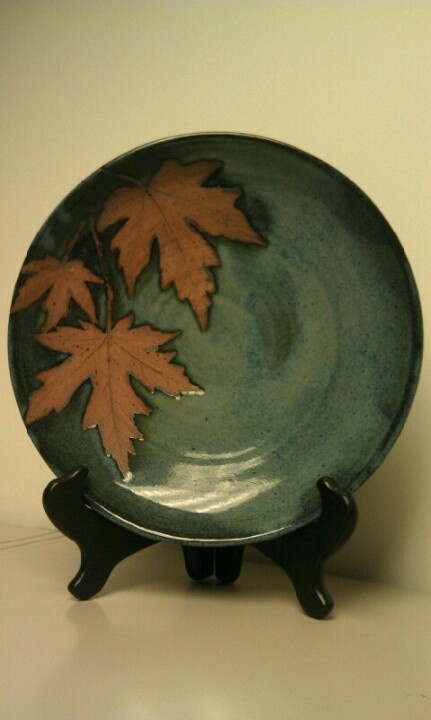 Wax Resist Leaves with Irin Oxide, pottery by Martha Silver