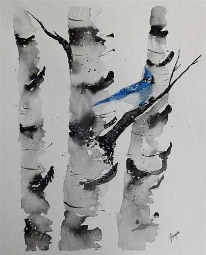 "Daily Paintworks - ""Original Watercolor Painting- Birch Tree Painting with Bluejay"" - Original Fine Art for Sale - © James Lagasse"