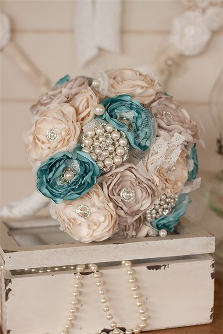 Vintage Inspired Cream, Ivory,Teal Blue Satin and Lace Bouquet