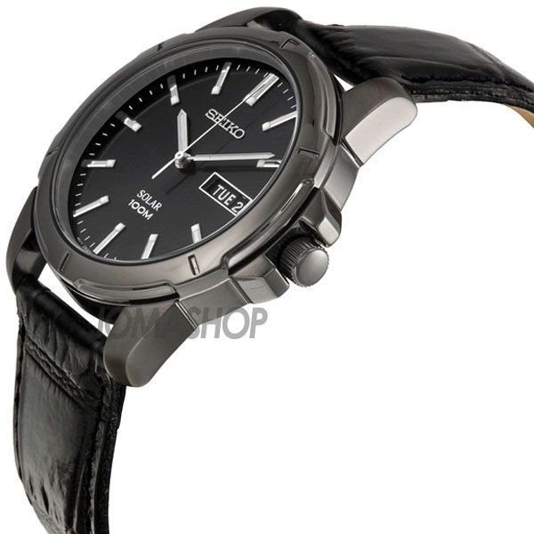 Seiko Solar Black Dial Black Leather Band Solar Mens Watch SNE097