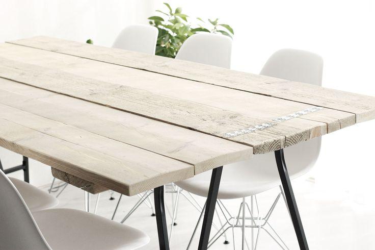 scandinavische tafel, moderne tafel, steigerhouten tafel, tafel met schragen, IKEA