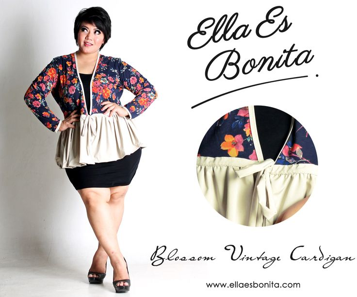 Blossom Vintage Cardigan - This cardigan features high quality stretch shirt for top and stretch wolly for bottom which specially designed for sophisticated curvy women originally made by Indonesian Designer & Local Brand: Ella Es Bonita. Available at www.ellaesbonita.com