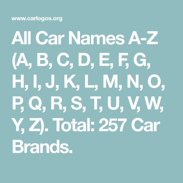 All Car Names A Z A B C D E F G H I J K L M N O P Q R S T U V W Y Z Total 257 Car