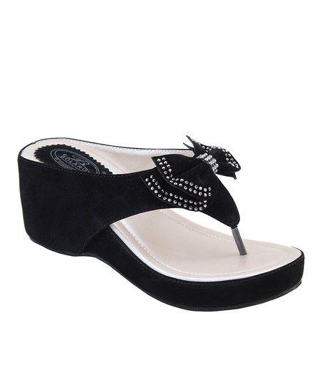 Black Rhinestone Bow Sandal