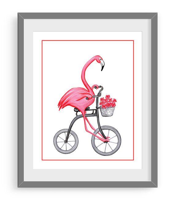 Panda pink flamingo and lemurs on bicycle print by AmelieLegault
