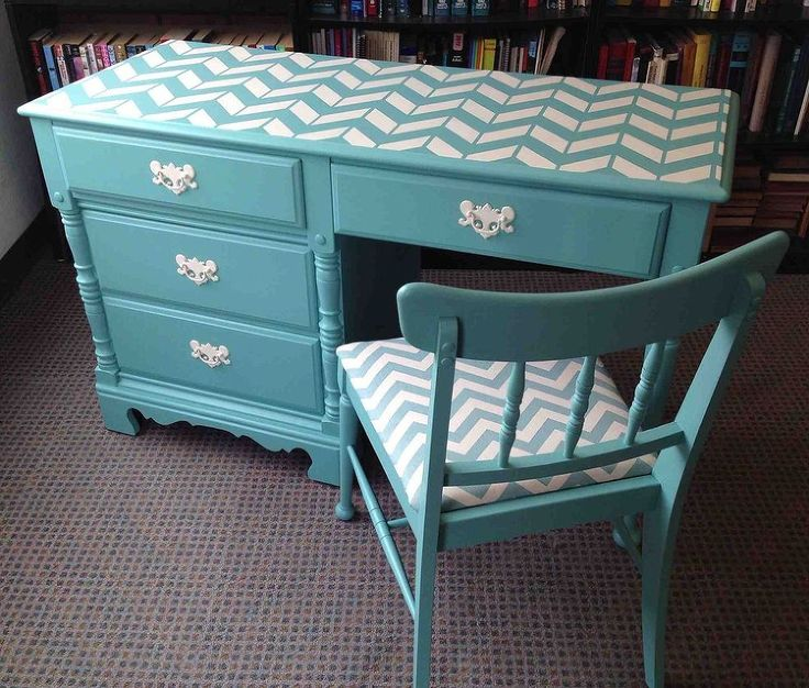 Vintage So Serene Chevron Desk & Chair ~ My Daughter and I found this treasure and was more than happy to bring it in a new life! Once I found the perfect paint color I set out to find the perfect fabric for the chair...I was sooo excited I found it! I Absolutely LOVE how this set turned out!
