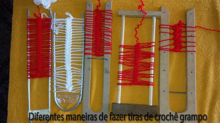Diferentes maneiras de fazer tira de crochê de grampo