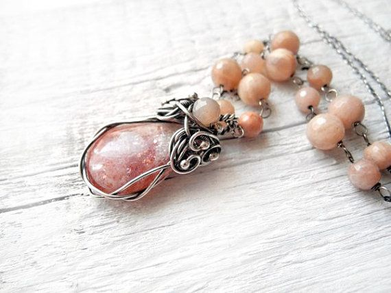 Sunstone necklace beaded necklace silver by NurrgulaJewellery