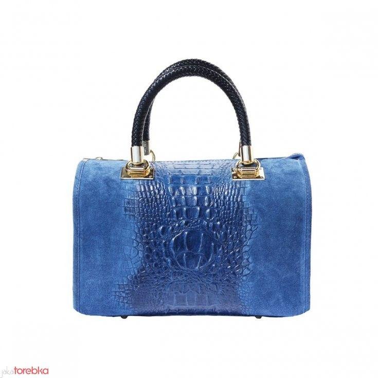 Torebka kuferek Isabella z łączonej skóry naturalnej Niebieski