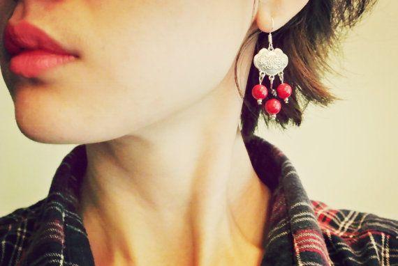 chandelier dangle drop beadwork earrings with longevity lock charm Chinese Oriental style