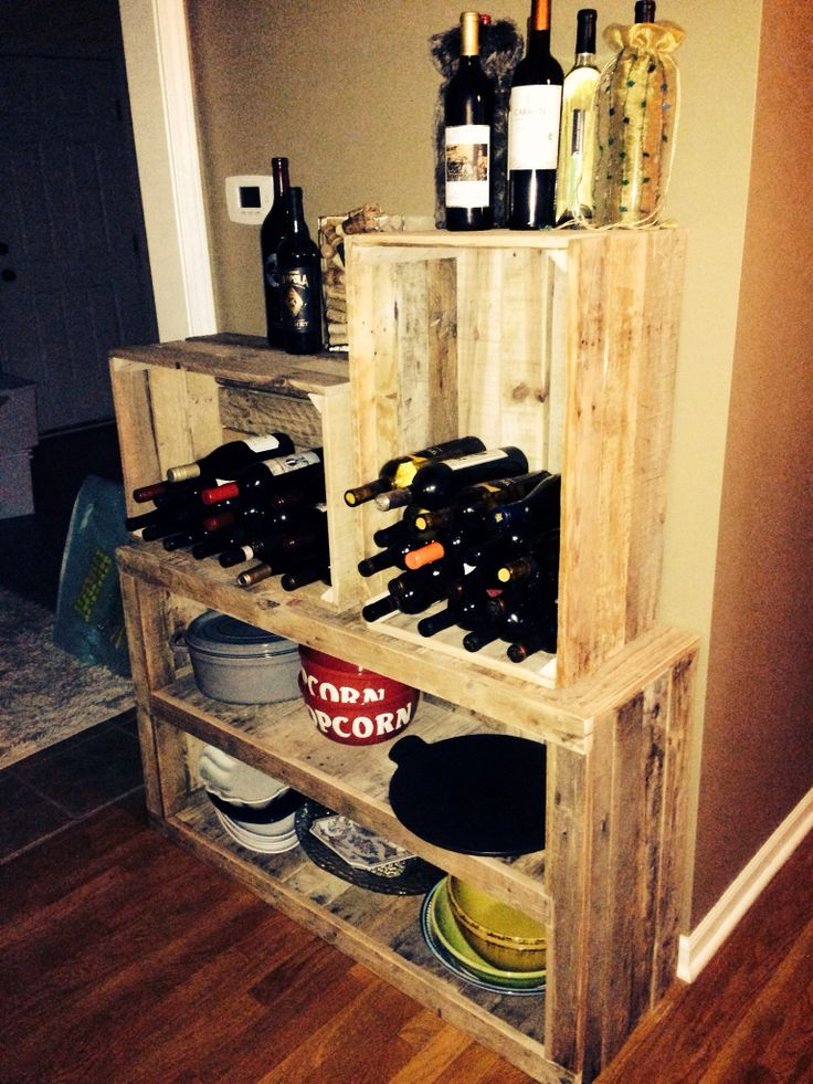 Our homemade pallet wood crates wine rack where i want for Crate wine rack diy
