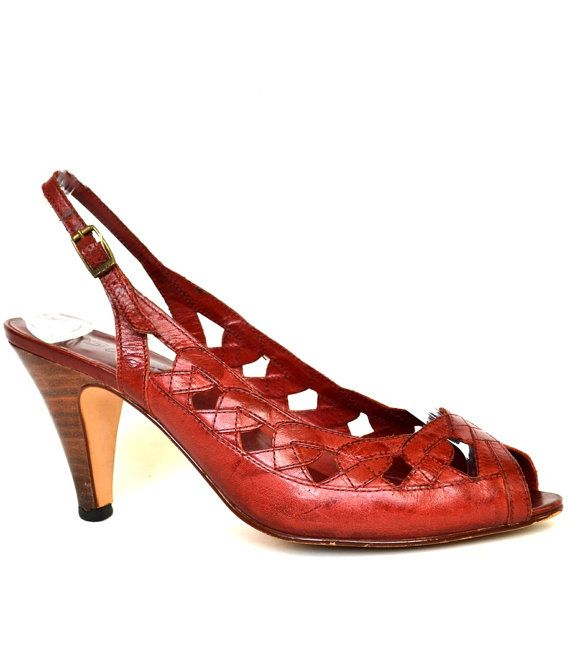 FREE SHIPPING Vintage 9 WEST Red Leather Pumps by StarletsVintage, $54.95