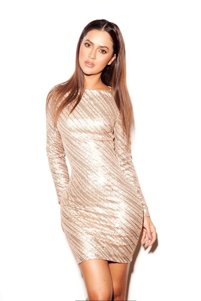 The Keisza rose gold sequinned dress. Shop:http://buff.ly/1WhW4GU