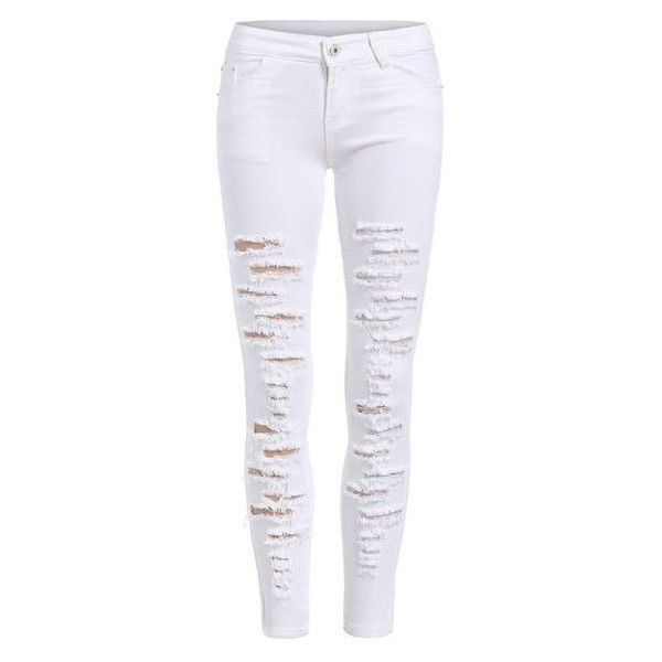 All white ripped skinny jeans