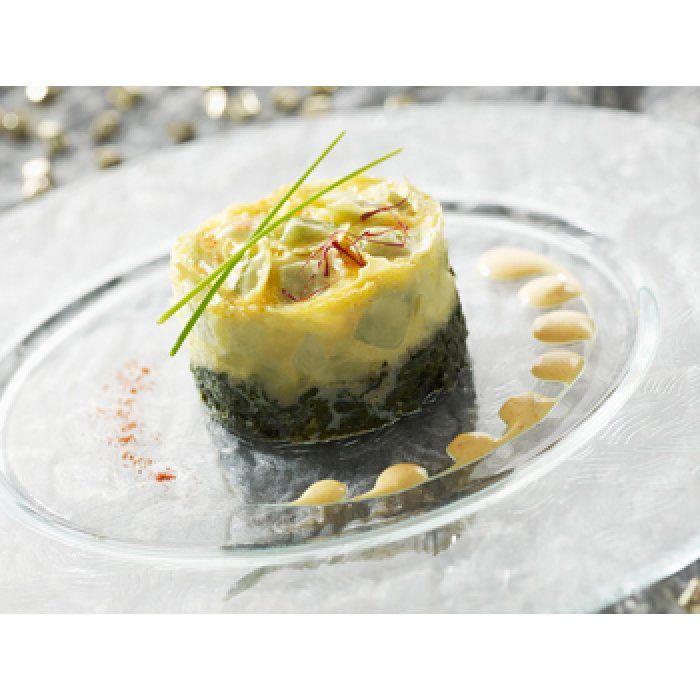 Flan de ravioles au Saint Marcellin et à la crème de safran