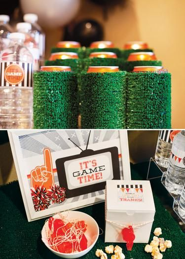 Love the artificial grass on the drinks. Hostess with the Mostess® - It's Game Time Football Party